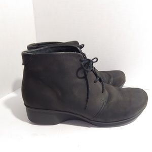 Dansko black leather lace-up boots